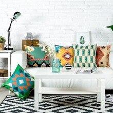 Nueva funda de almohada de lino de algodón Vintage estilo Kilim Retro Aztect funda de cojín decorativa para el hogar funda de almohada 45x45cm