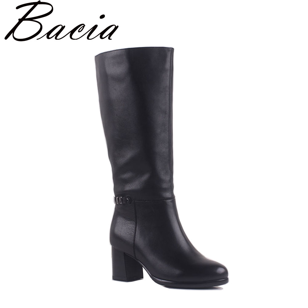 Bacia 2017 Classic Style Genuine Leather Women Boots Square High Heel Botas Warm Plush Natural Leather Shoes Size 35-41 MA007