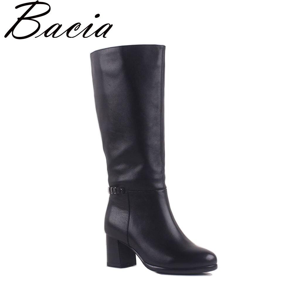 Bacia 2017 Style Classique En Cuir Véritable Femmes Bottes Carré À Talons Hauts Botas Chaud En Peluche En Cuir Naturel Chaussures Taille 35- 41 MA007
