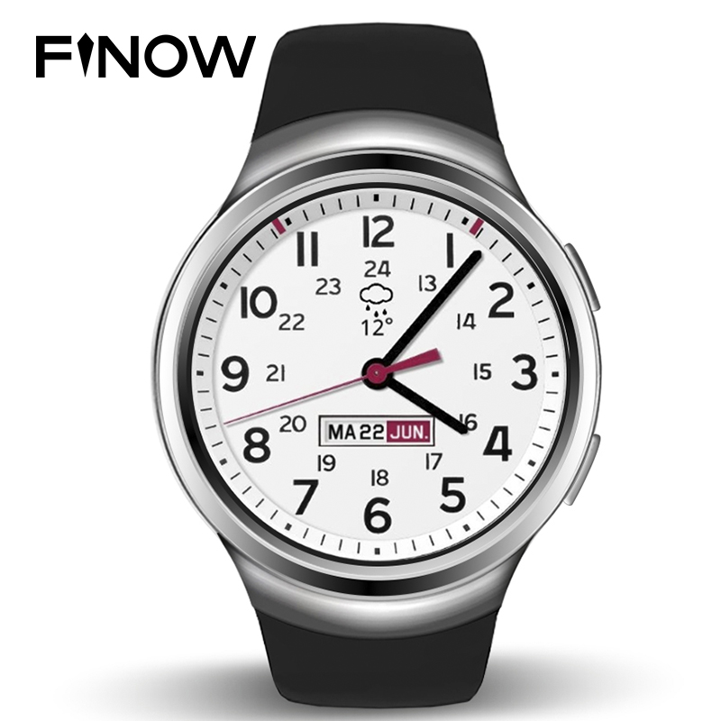 New Finow X3 Smart Watch Men 3G Bluetooth Android Watch Wearable Devices Support Heart Rate Wacht GPS for android & IOS phone no 1 d5 bluetooth smart watch phone android 4 4 smartwatch waterproof heart rate mtk6572 1 3 inch gps 4g 512m wristwatch for ios