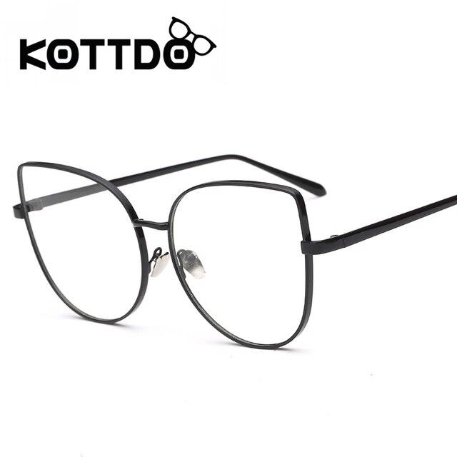 b675ac9f4439 KOTTDO 2017 Fashion Women Titanium Glasses Frames Men Brand Computer Lenses  Eyeglasses Gold Shield Frame Transparent Spectacles