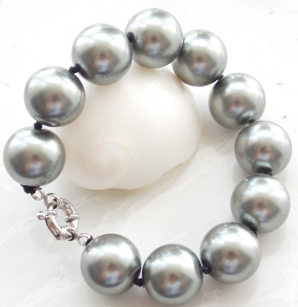 10x10 jewerly free shipping >> 10mm Gray Sea Shell Pearl Round Bracelet 7.5'' AAA