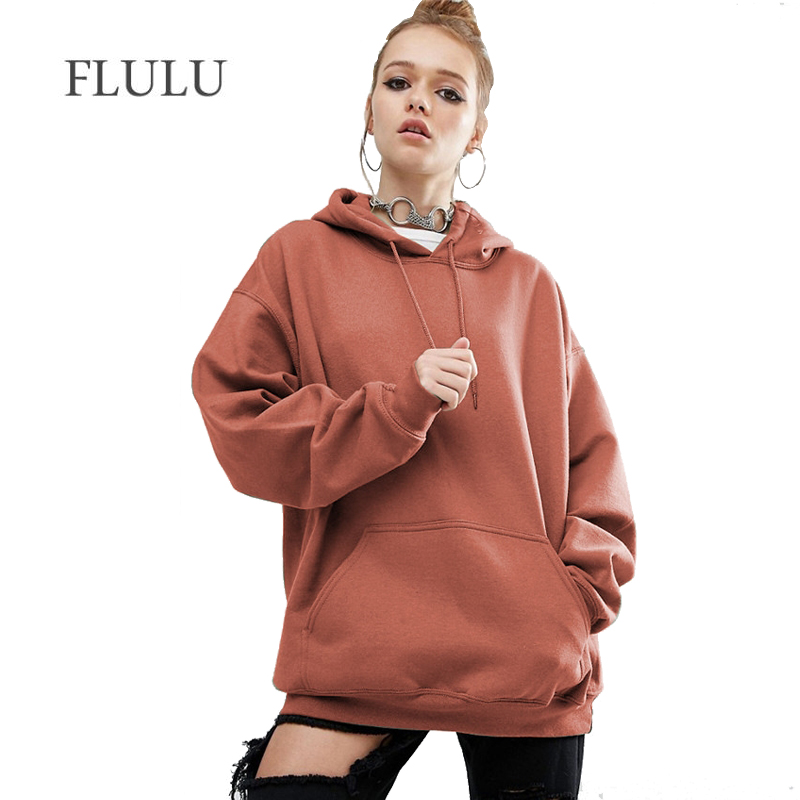 FLULU Herbst Winter Frauen Sweatshirts Hoodies BF Tops Feste Warme Frauen Casual Langarm Sweatshirts Pullover bts Plus Größe 5XL
