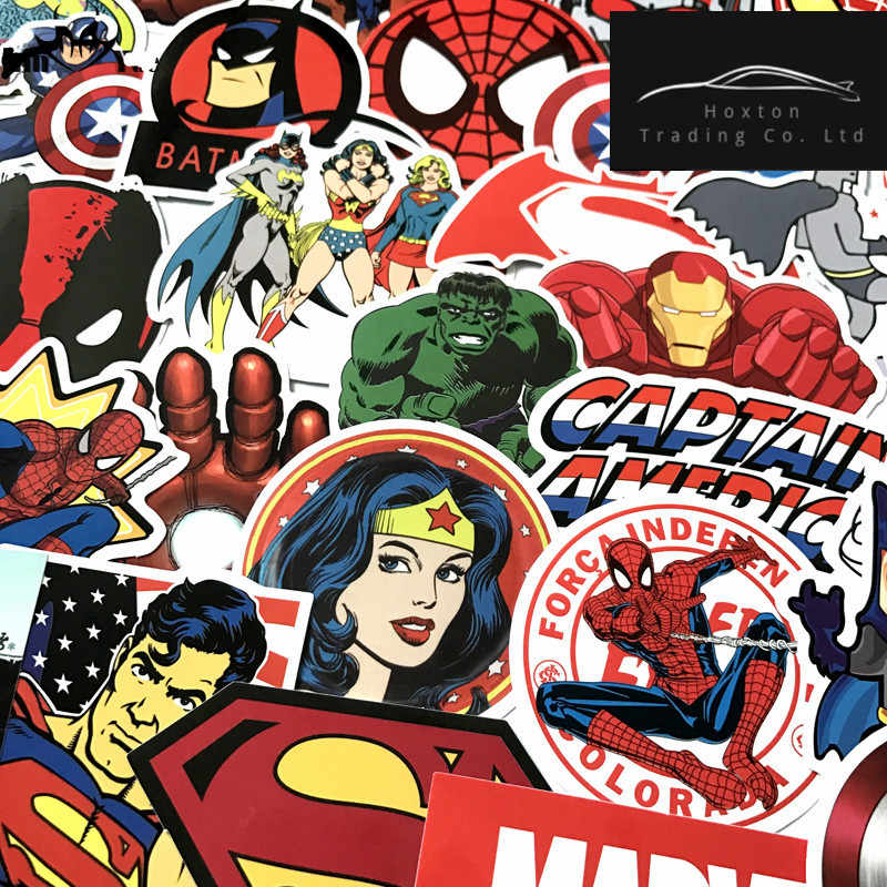 HOT 50 Pcs/Lot Stickers For MARVEL Super Hero DC Stickers For Car Laptop Decal Fridge Skateboard Batman Superman Hulk Iron Man