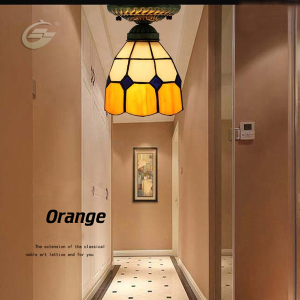 Stained Glass Light Shade Mediterranean Style Ceiling Lamps for Bedrooms Shade Glass Ceiling Lamp Art Deco YSL-TFC01O