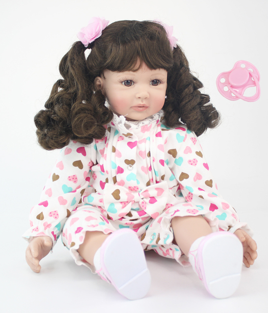 60cm Original Soft Silicone Reborn Baby Doll Toys For Girl 24 inch Vinyl Princess Toddler Babies
