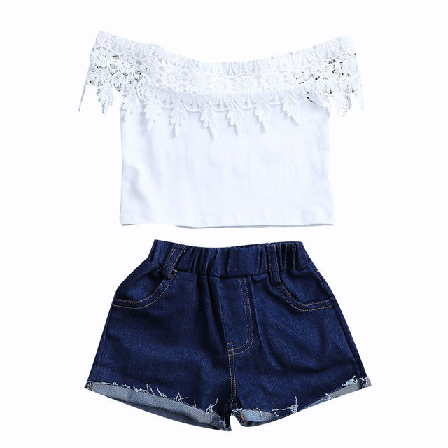 e1873acf81d5cf 2017 Fashion Infantil Summer Outfits Toddler Kids Baby Girls Lace Tops Off  Shoulder T-shirts Denim Hot Shorts Outfits Clothes
