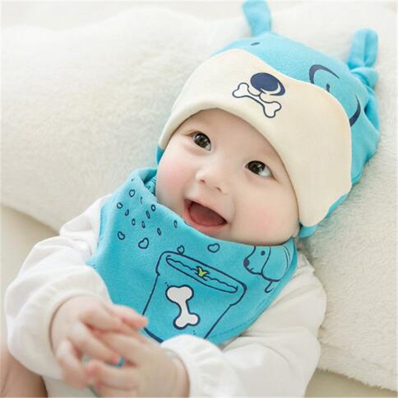 Newborn Baby Hat & bib Set dog pattern Cap Kids Boys Girls Beanie Hats bibs Set 0-8M 2pcs/set