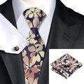 Мужская Tie Зеленый Темно-Синий Цветочные Галстук Для Мужчин галстуки Ханки Запонки Набор Бизнес Свадьба Поставок C-1168