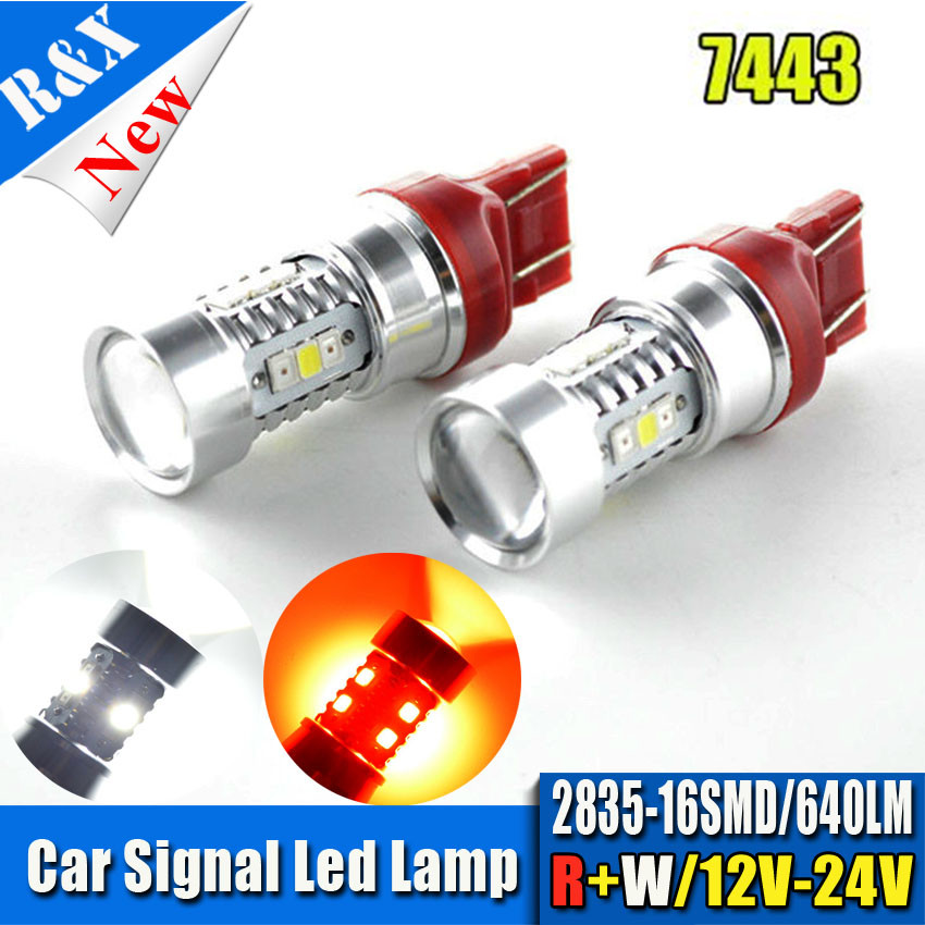 Newest 2PCS Red+White High Power Samsung 2835Chip 16SMD LED 7443 Dual Color Switchback LED Turn Signal Light Bulbs 12-24VDC