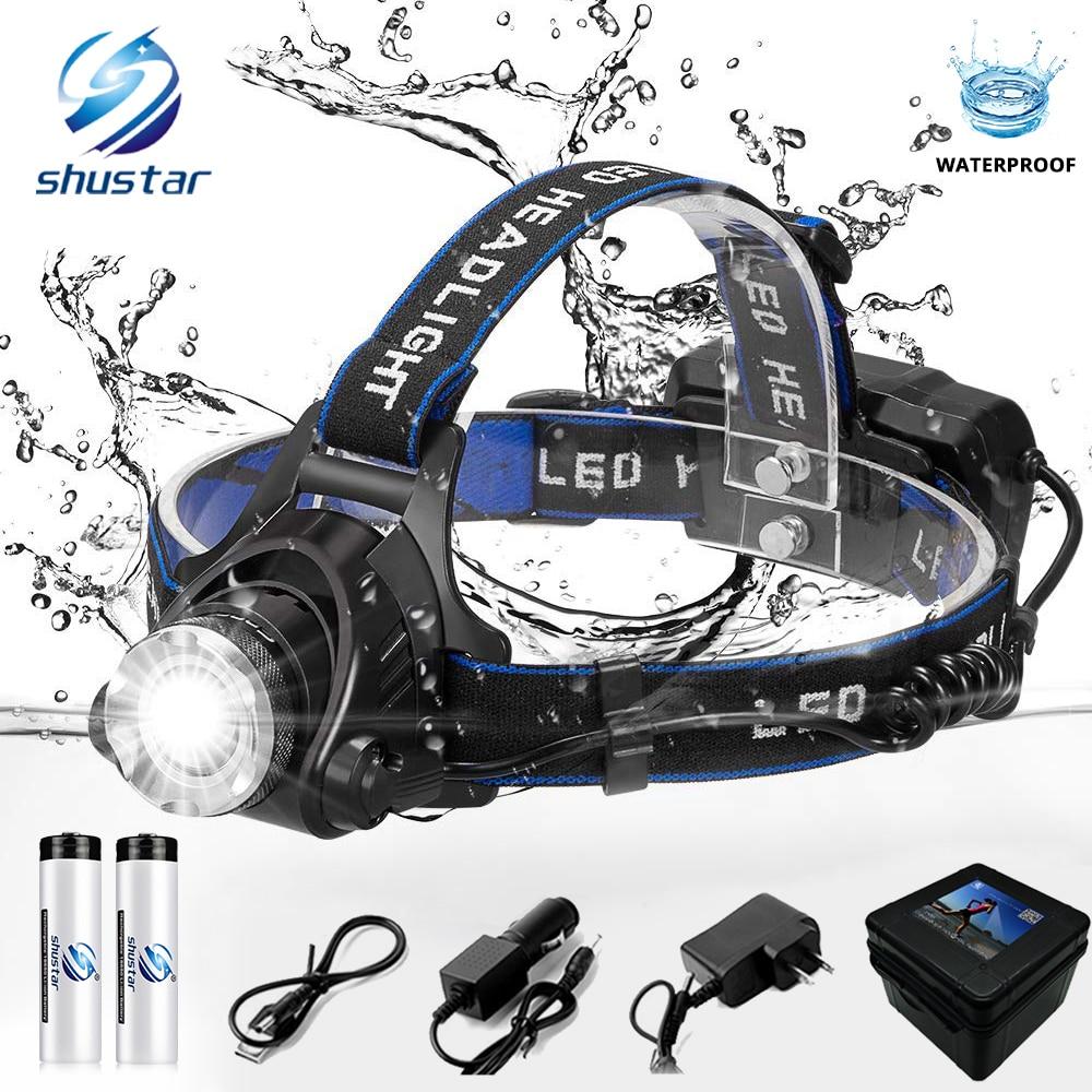 LED koplamp vissen koplamp 6000 lumen T6/L2 3 modes Zoomable lamp Waterdichte Hoofdlamp zaklamp Head lamp gebruik 18650