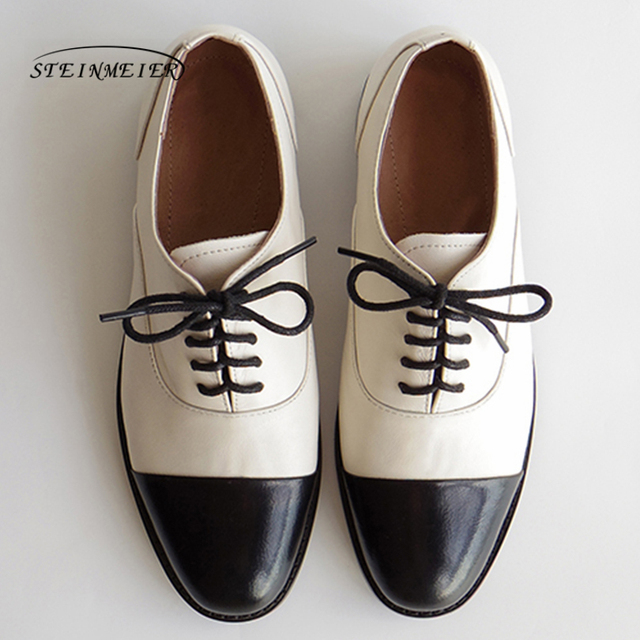 Women genuine leather oxford shoes round toe black white lady lace up brogues loafers casual shoes for women leather shoes 2020