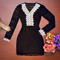Spring Women A-line Dress Sexy Black Slim Hollow Out  Dresses Casual Mini Dess Vestido