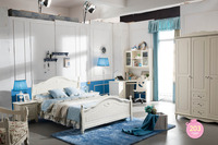 B01 Modern Home Bedroom Furniture Korean Style Pastoral Scenery White King Size Bed Large Comfortable Bed