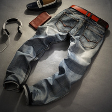 Jeans Retro Nostalgia Straight Denim Jeans Men Plus Size 28-40 Casual Men Long Pants Trousers Brand Biker Jean