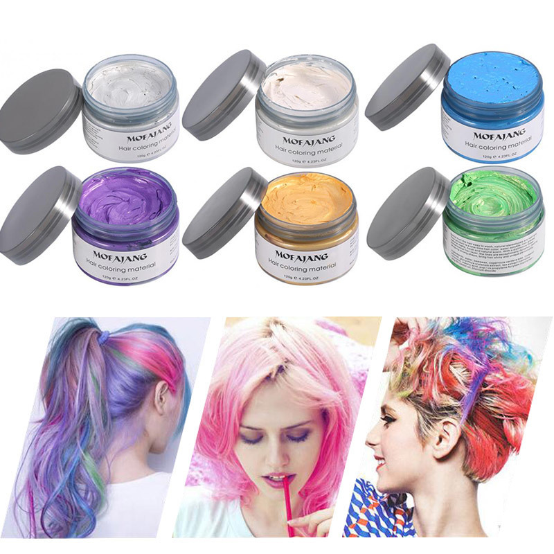 US $8.59 |7 Colors Fashion MOFAJANG Temporary Hair Color Dye Hair Wax  Molding Paste Pastel Hair Styling DIY One Time Makeup Hair Color Wax-in  Hair ...
