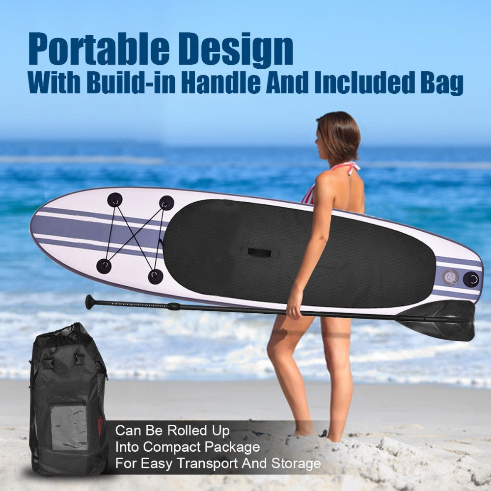 Gofun 11 x 30 x 6 Inch Stand Up Paddle Surfboard Inflatable Board SUP Set Wave Rider + Pump inflatable surf board paddle boat shoulder bag carry bag for inflatable boat kayak sup board stand up paddle surfing board pump oar dinghy raft surf board a05011