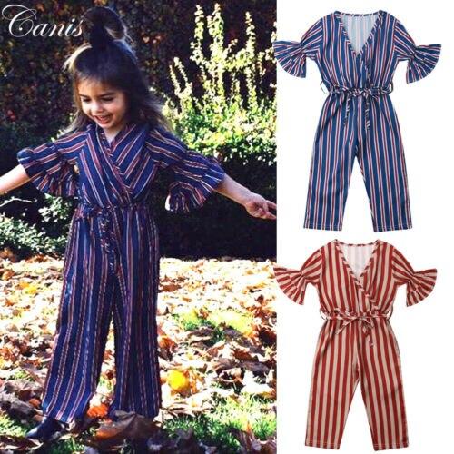 Radient Peuter Kid Baby Meisje Streep Kleding Lange Broek Een Stuk Jumpsuit Romper Sunsuit Outfits 1-6 T Moderne Technieken