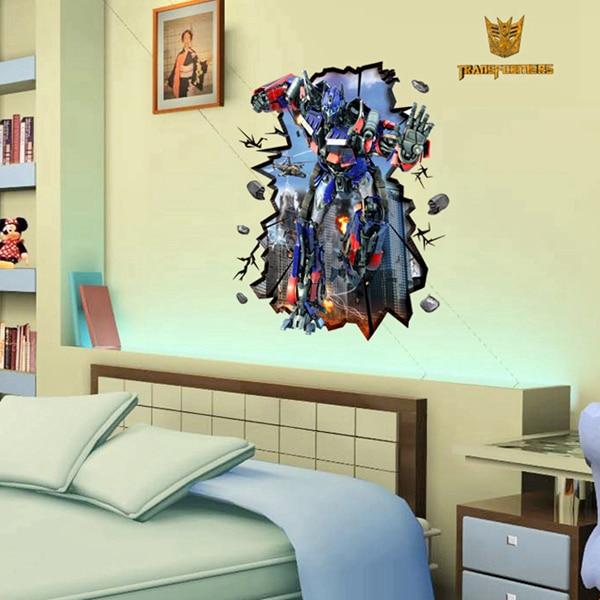 Ew 3D Transformers Wall Stickers Decals Home Decor Adesivo De Parede Kids  Boys Bedroom Decoration 3d
