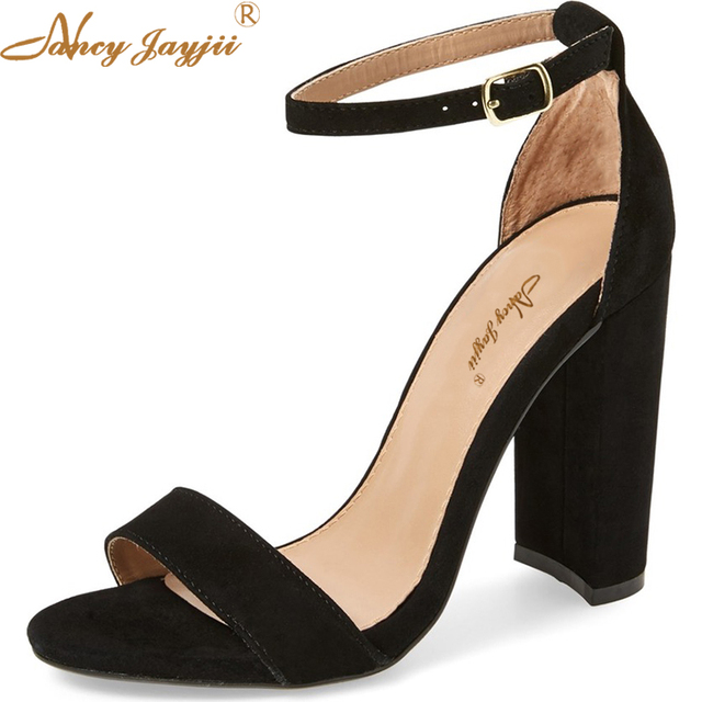 e68ec843b68 2018 Summer Sexy Black Sandals Open Toe Ankle Strap High Thick Heels 12cm  Shoes Woman Suede Dress Party Large Size16 Nancyjayji