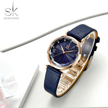 лучшая цена Shengke Women Watches New Ladies Luxury Watches Quartz Wristwatches Leather Strap Fashion Casual Waterproof Gift