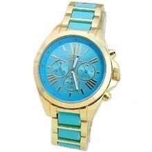 Haut EXTRA GRAND Cadran En Métal de Style Genève Femmes Montre HOMMES D'or Montre-Bracelet analogique quartz De Mode Horloge Marine Bleu Noir