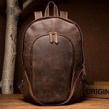 цены Vintage men's Leather Backpack Original Backpacks Crazy Horse Genuine Cowhide Skin Leather Men's Bag Cow Leather Backpacks Tra