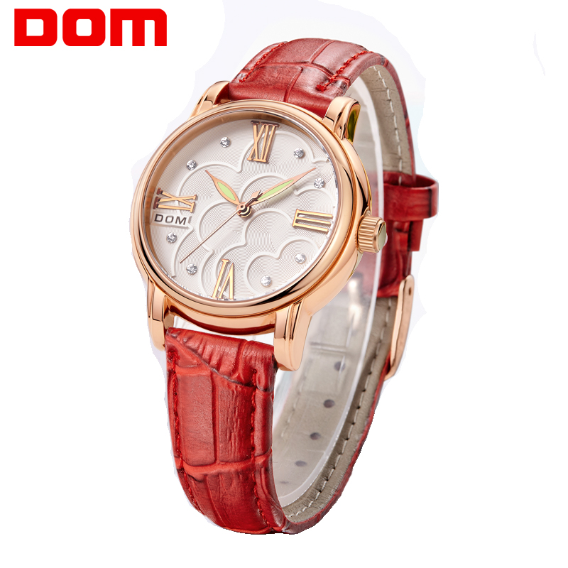 Watch Women DOM Brand Elegant Retro Watches Fashion Ladies Quartz Watches Clock Women Casual Leather Women's Wristwatches G-1028 2016 ibso brand elegant retro watches women fashion luxury quartz watch clock female casual leather women s wristwatches