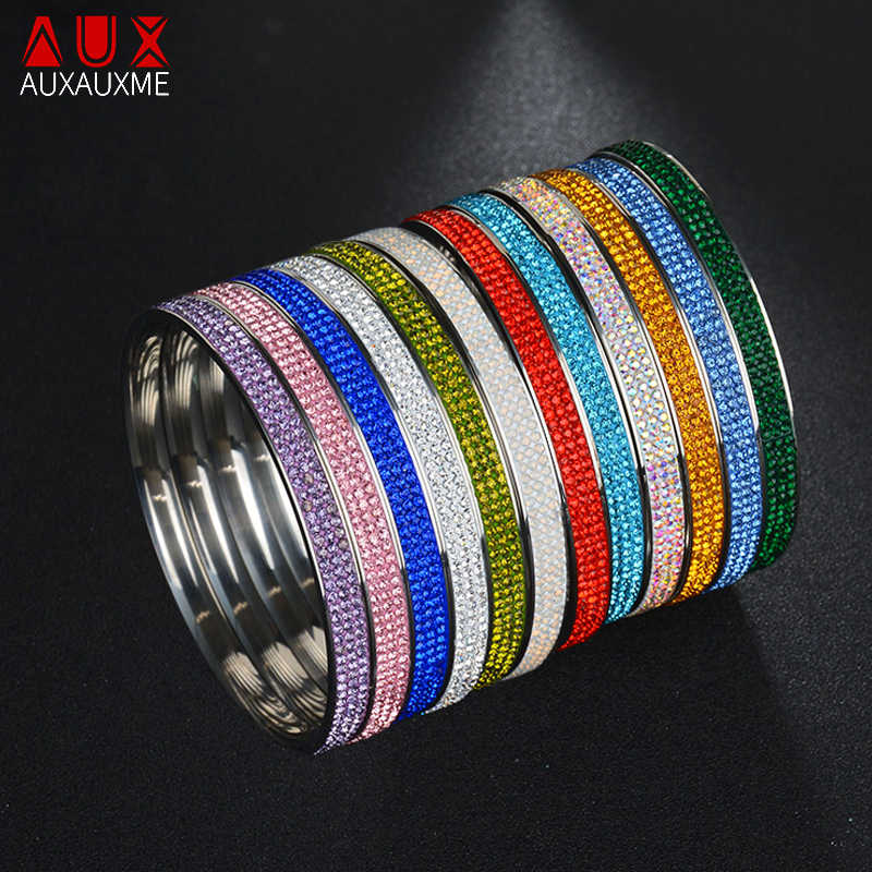 Auxauxme Charm Design Stainless Steel Full Crystal Bangles Bracelets For Women Multiple Color Bangles Wedding Jewelry BFF Gift