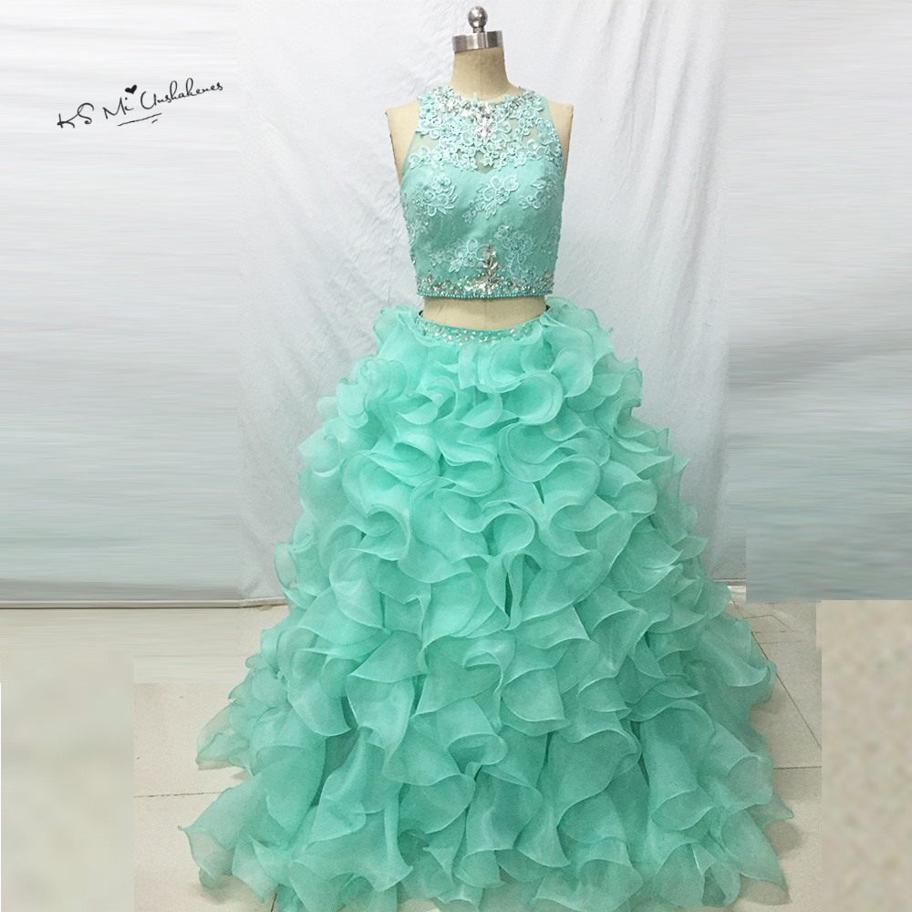 Sweet 16 Dresses Ball Gown Cheap Mint Green 2 Piece Quinceanera Dresses 2017 Debutante Gown Lace Crystals Vestidos de 15 Anos image