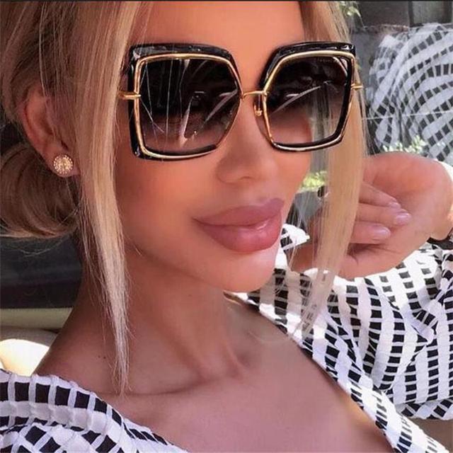 54e714e139 square frame sunglasses women 2018 fashion luxe brand shades oversized gold  black pink mirror sun glasses female points UV400