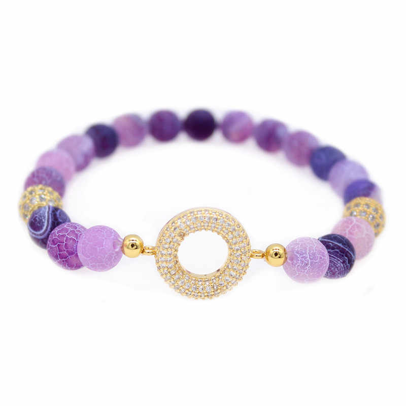Poshfeel 8mm Purple Natural Stone Bead Bracelet for Women Crystal Bracelets & Bangles CZ Jewelry Gift MBR190023