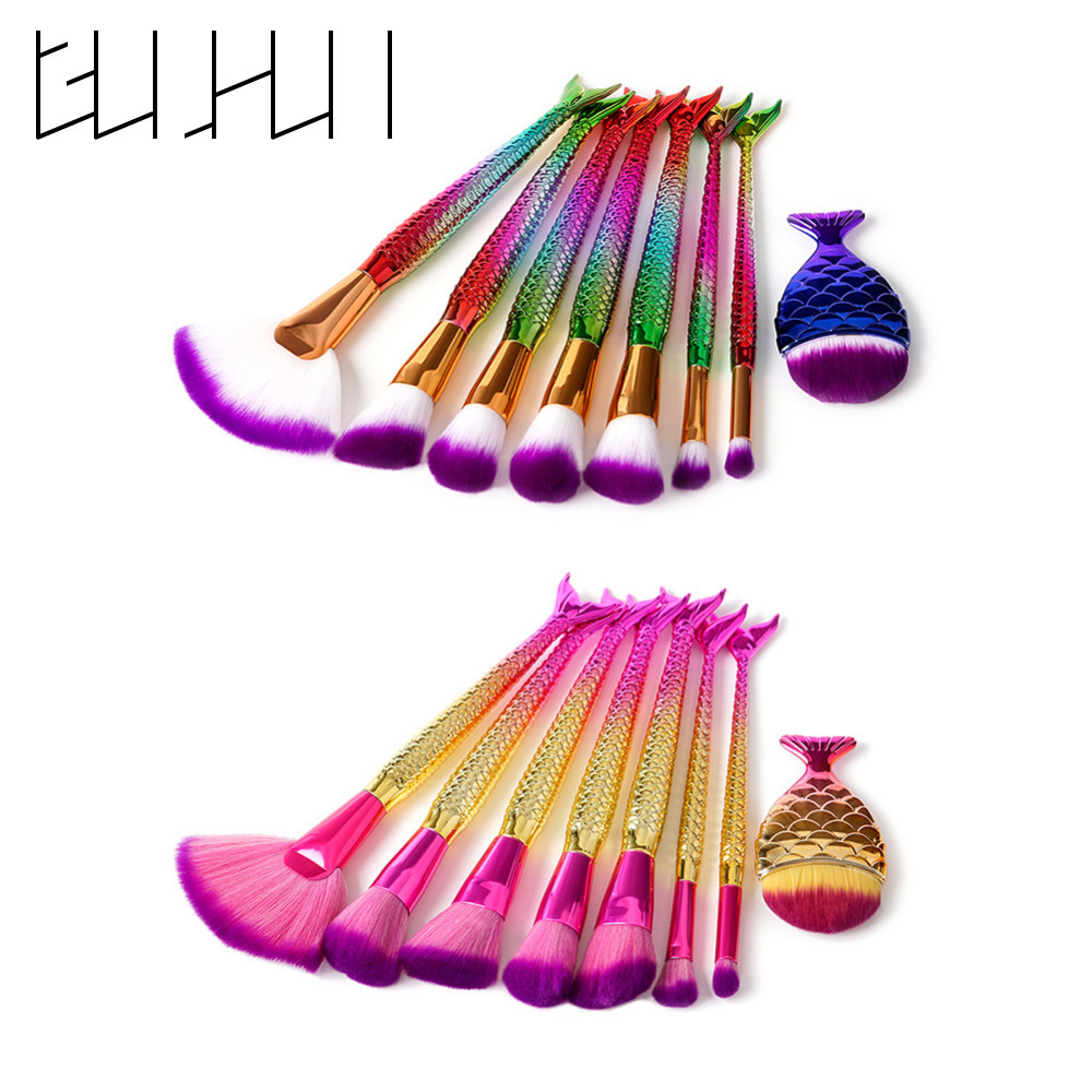 8Pcs Gradient Colors Makeup Brush Set Mermaid Fishtail Shaped Foundation Powder Contour Concealer Eyeshadow Cosmetic Brushes Kit new store free shipping beauty and the beast rose gold makeup brush cosmetic brush woman gift eyeshadow contour concealer