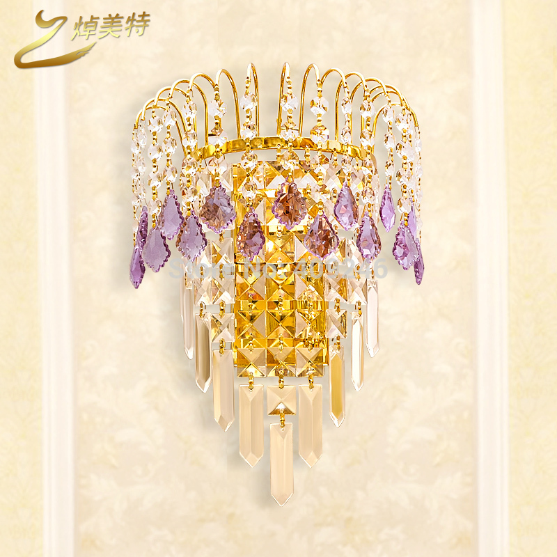 ФОТО Luxury A Grade K9 Purple Clear Crystal Wall Lamp Mirror Light Gold For Bedside Bedroom Hall