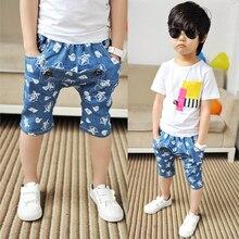 2017 print boys summer pants fashion children denim blue capris child trousers casual capris baby boys