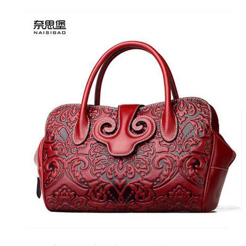 2016 New women genuine leather bag fashion chinese style quality cowhide embossing luxury women leather handbags shoulder bag