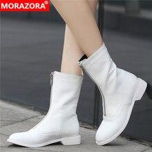 MORAZORA プラスサイズ 34 42 新ブランドの女性のブーツジッパー秋冬ブーツ固体ホワイトカラーレディースアンクルブーツ女性のための