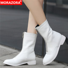 MORAZORA Plus size 34 42 New brand women boots zipper autumn winter boots solid white color ladies ankle boots for women