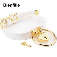 Designed Sexy Unique Choker Silver Gold Metal Padlock Heart Lock Hanging O Round Sub Fetish Collar