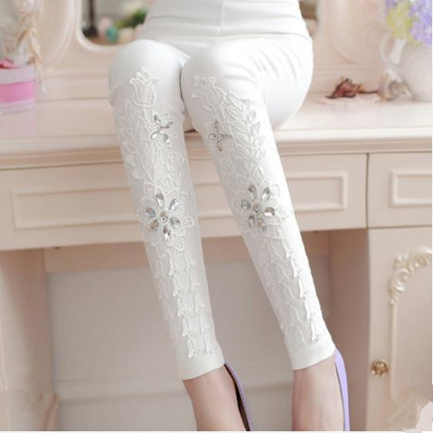 2018 Autumn Fashion Patchwork Spliced Pants Embroidery Rhinesto Cotton Casual Skinny Street Pant Leggings