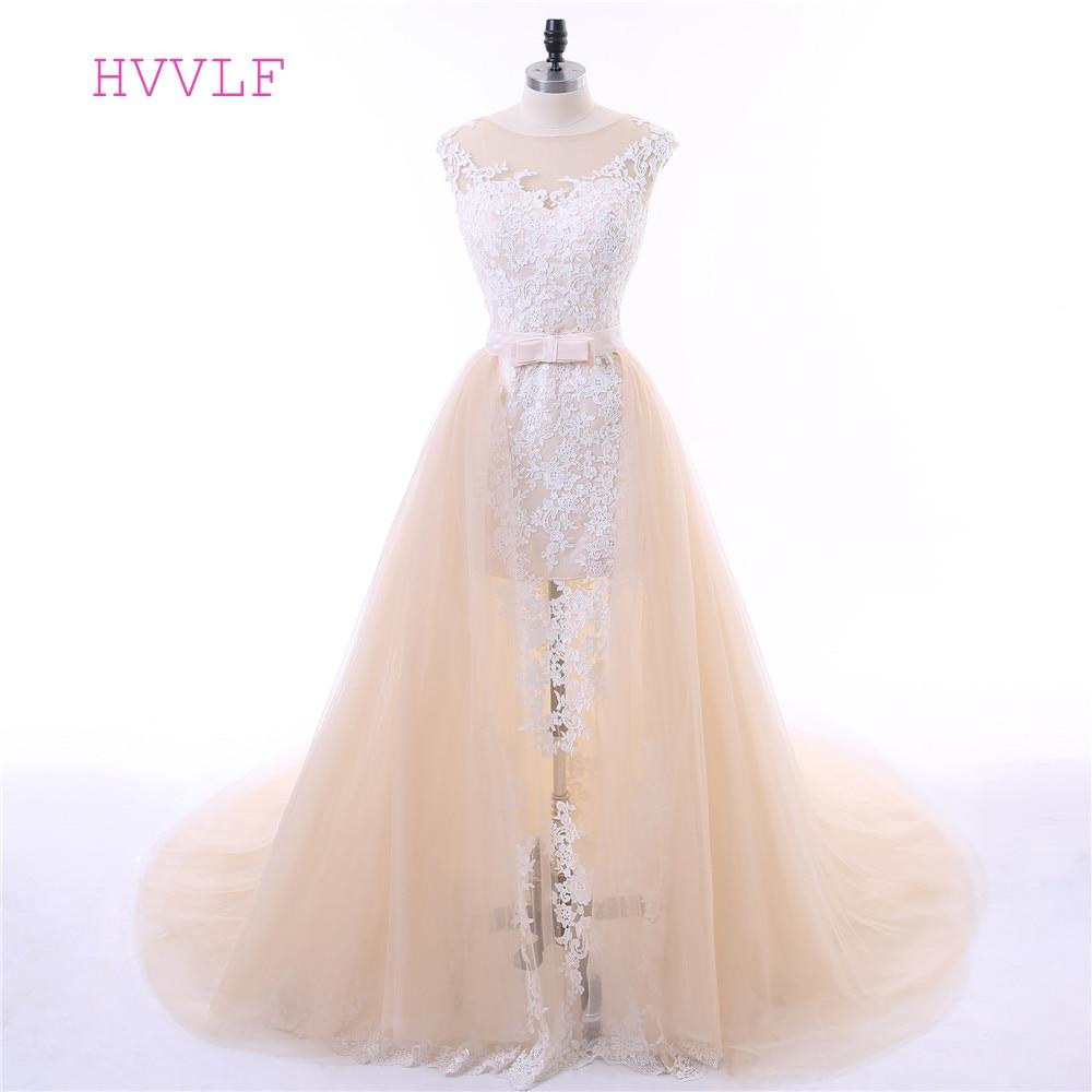 Champagne Vestido De Noiva 2019 Wedding Dresses Mermaid Cap Sleeves Appliques Lace Detachable Cheap Wedding Gown Bridal Dresses