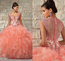 hand made ruffle beaded crystal 2017 coral quinceanera font b dresses b font cap sleeve ball