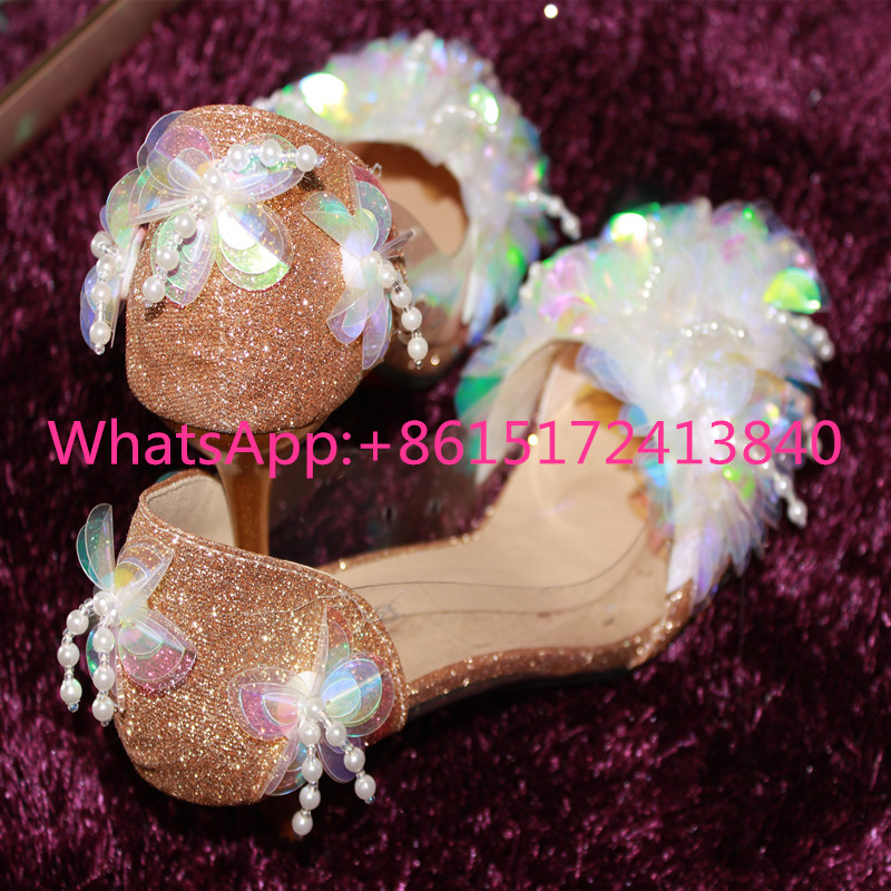 ФОТО Berdecia New Pointed Toe Thin Heels Tassels Bling High Heels Women Shoes Flower Crystal Transparency Golden Sequins Sexy Pumps