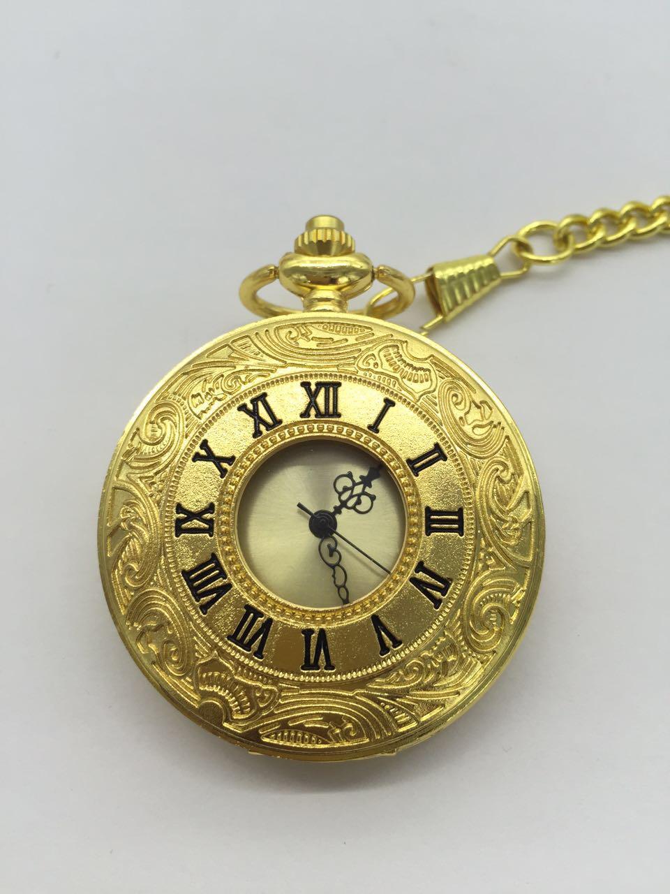 Nouveau quartz doré évider chiffres romains double affichage hommes FOB chaîne montres de poche-in Montres de poche from Montres    1