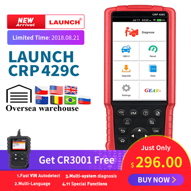 Special Offers LAUNCH X431 CRP429C OBD OBD2 Code Reader Scanner for 4 system diagnostic +11reset CRP429 Scan tool Creader 3001 as gift CRP129
