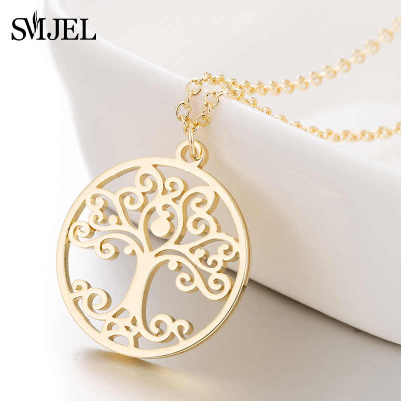 SMJEL Flower of Life Mandala Pendant Necklaces Sacred Geometry Stainless Steel Spiritual Necklace Women Ancient Egyptian Jewelry