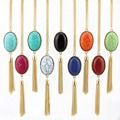 9 Colores Dorado Largo Oval de Piedra Natural Collar de Cadena de Plata Joyería Boho Borla Collar de Moda Femenina Al Por Mayor