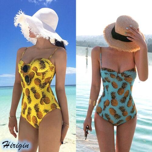 Summer Print Swimsuit HOT Women Summer Sleeveless V-Neck One Piece Swimsuit Push Up Pineapple Print Bikini Jumpsuits