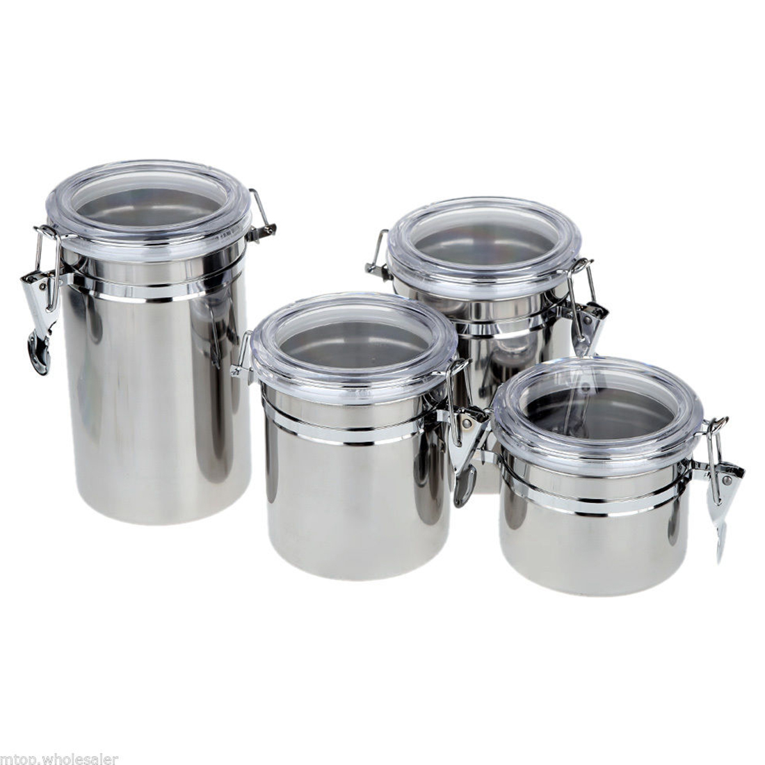 4pcs Stainless Steel Canister Spice Storage Jar Set Kitchen Cans Pots Organizer4pcs Stainless Steel Canister Spice Storage Jar Set Kitchen Cans Pots Organizer