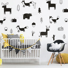 Nordic style Fox Wall Stickers Nursery Removable DIY Wall Decal for Kids Bedroom Bear Deer Animal Art Sticker Fuuny Decor JW235(China)